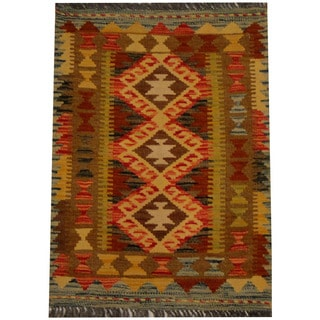 Herat Oriental Afghan Hand-woven Vegetable Dye Wool Kilim (2' x 2'9)
