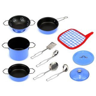 Velocity Toys Kids' Little Chef Combo Complete Blue Metal 11-piece Kitchenware Set
