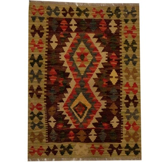 Herat Oriental Afghan Hand-woven Vegetable Dye Wool Kilim (2' x 2'8)