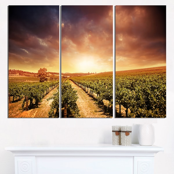 Super Large Single Picture Landscape Vineyard Canvas: Shop Vineyard With Stormy Sunset