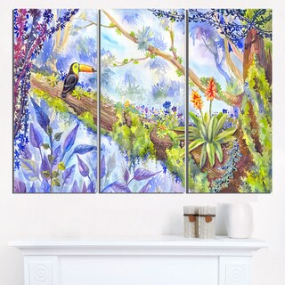 Jungle with Bird Toucan on Tree - Extra Large Wall Art Landscape
