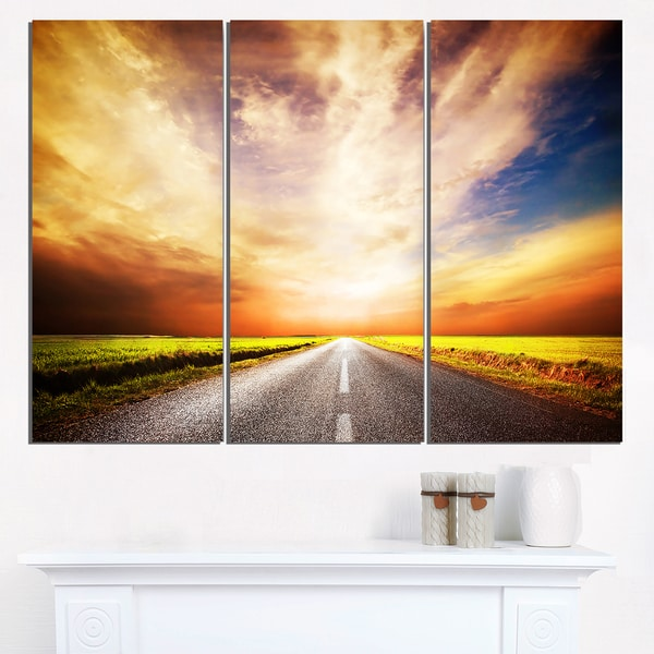 Road to Yellow Sunset Sky - Extra Large Wall Art Landscape - Blue