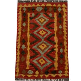 Herat Oriental Afghan Hand-woven Vegetable Dye Wool Kilim (2' x 3'1)