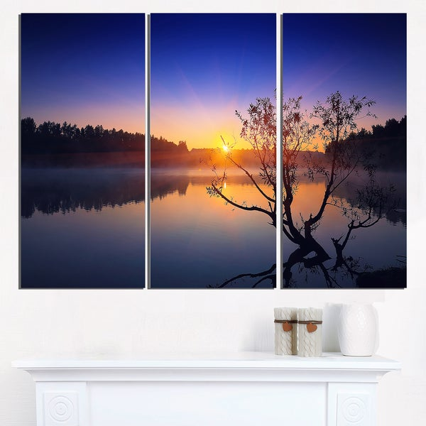 Lonely Tree in Pond in Blue - Extra Large Wall Art Landscape