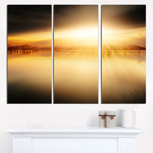 Sunset with Views on the Lake - Extra Large Wall Art Landscape ...