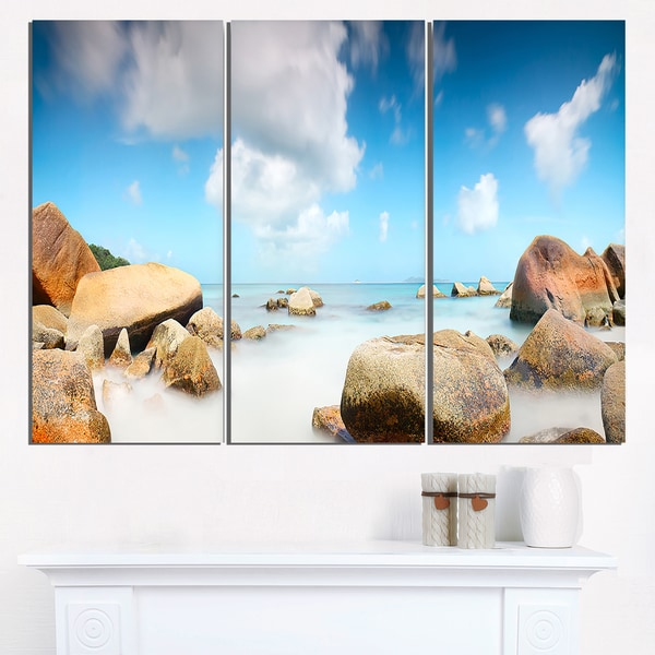 Rocky Blue Seashore Panorama - Extra Large Wall Art Landscape
