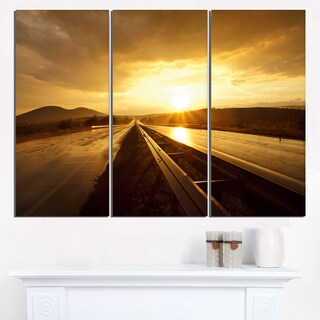 Wet After Rain Road at Sunset - Extra Large Wall Art Landscape