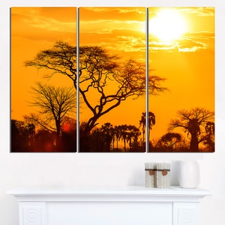 Orange Glow of African Sunset - Extra Large Wall Art Landscape