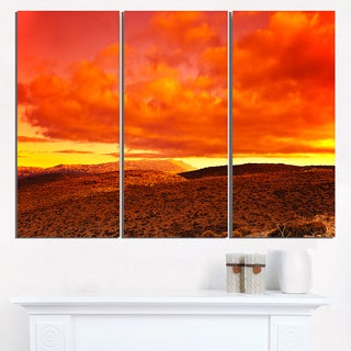 Dramatic Red Sunset at Desert - Extra Large Wall Art Landscape