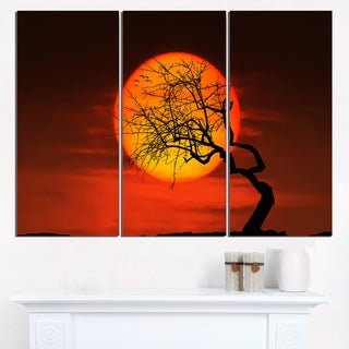 Birds and Tree Silhouette at Sunset - Extra Large Wall Art Landscape