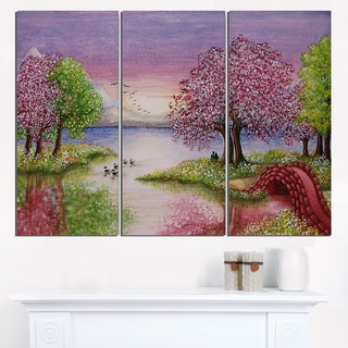 Romantic Lake in Pink and Green - Extra Large Wall Art Landscape