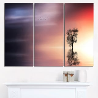Solitude Tree and Flying Birds - Extra Large Wall Art Landscape