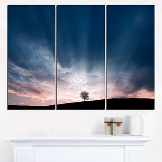 Flock of Birds and Lonely Tree - Extra Large Wall Art Landscape