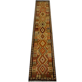 Herat Oriental Afghan Hand-woven Vegetable Dye Wool Kilim Runner (2'8 x 13'5)