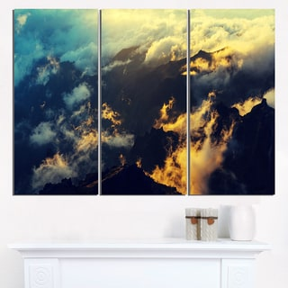 Sunset on Hill above Clouds - Extra Large Wall Art Landscape