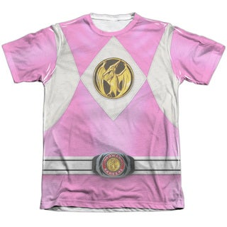 Power Rangers/Pink Ranger Emblem Adult Poly/Cotton Short Sleeve Tee in White
