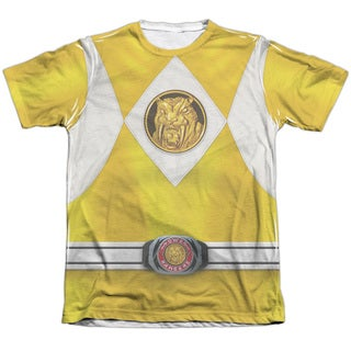 Power Rangers/Yellow Ranger Emblem Adult Poly/Cotton Short Sleeve Tee in White