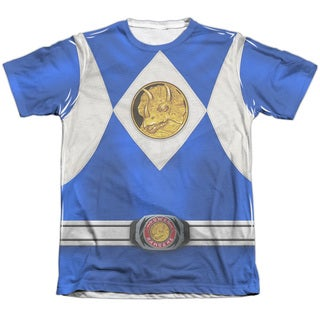 Power Rangers/Blue Ranger Emblem (Front/Back Print) Adult Poly/Cotton Short Sleeve Tee in White
