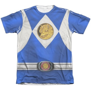 Power Rangers/Blue Ranger Emblem Adult Poly/Cotton Short Sleeve Tee in White