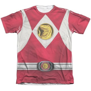 Power Rangers/Red Ranger Emblem (Front/Back Print) Adult Poly/Cotton Short Sleeve Tee in White