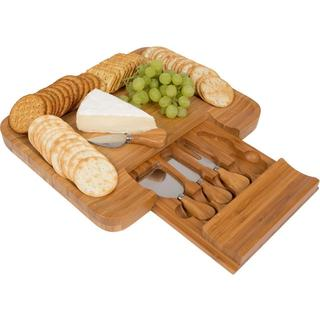 Trademark Innovations Bamboo Cheese Serving Tray with Hide-away Utensil Set