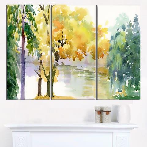 Beautiful Autumn Forest Watercolor - Landscape Wall Art Canvas Print - Multi-color