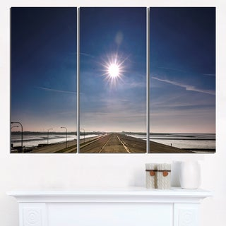 Sun in Blue Sky on Dyke Germany - Landscape Print Wall Artwork