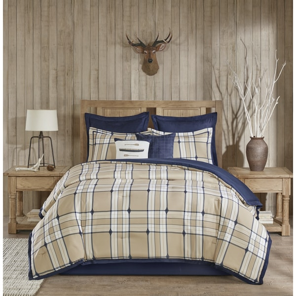 Woolrich Feather Plaid Tan Comforter 8-Piece Set