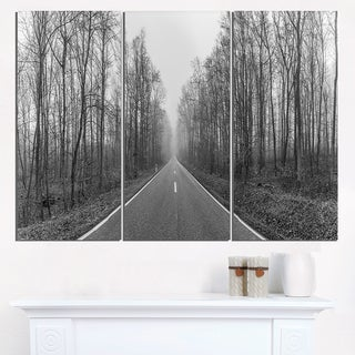 Black and White Freeway in Forest - Landscape Print Wall Artwork
