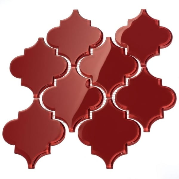 Ruby Red Arabesque Water Jet Tiles (7 Square Feet) (11 Sheets)
