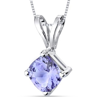 Oravo 14K White Gold 1-Carat Tanzanite Cushion Cut Pendant