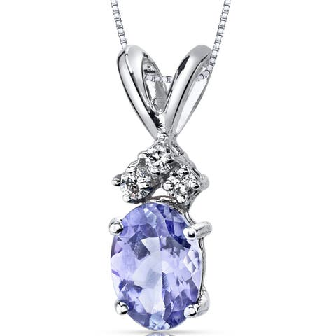 Oravo 14K White Gold Tanzanite 0.75 Carats Diamond Oval Cut Pendant