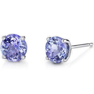 Oravo 14K White Gold 1.50 Carats Tanzanite Round Cut Stud Earrings