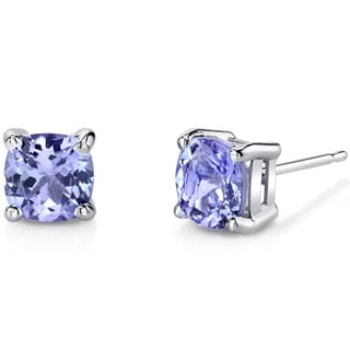 Oravo 14K White Gold 2.00 Carats Tanzanite Cushion Cut Stud Earrings