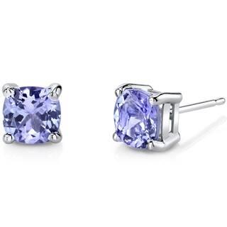 Oravo 14K White Gold 2.00 Carats Tanzanite Cushion Cut Stud Earrings https://ak1.ostkcdn.com/images/products/12390884/P19212397.jpg?impolicy=medium