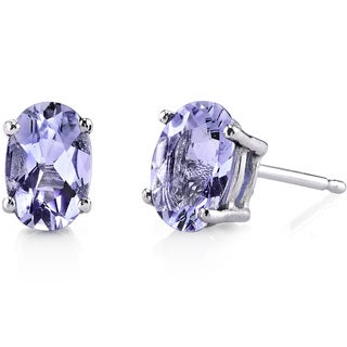 Oravo 14K White Gold 1.20 Carats Tanzanite Oval Cut Stud Earrings