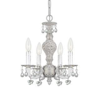 Crystorama Paris Market Collection 4 Light Antique White Mini Chandelier