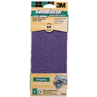 "3M 9650 9"" 60 Grit SandBlaster Finishing Sander Clip-On Sandpaper"