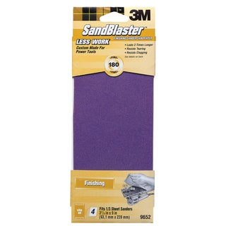 "3M 9652 9"" 180 Grit SandBlaster Finish Sander Clip-On Sandpaper"