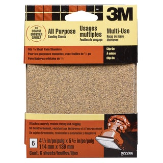 3M 9222ES Coarse Palm Sander Sandpaper Sheets Clip-On