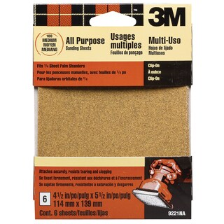 3M 9221ES Medium Palm Sander Sandpaper Sheets Clip-On
