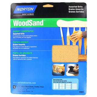 "Norton 48025 9"" X 11"" Assorted Grits WoodSand 5-count"