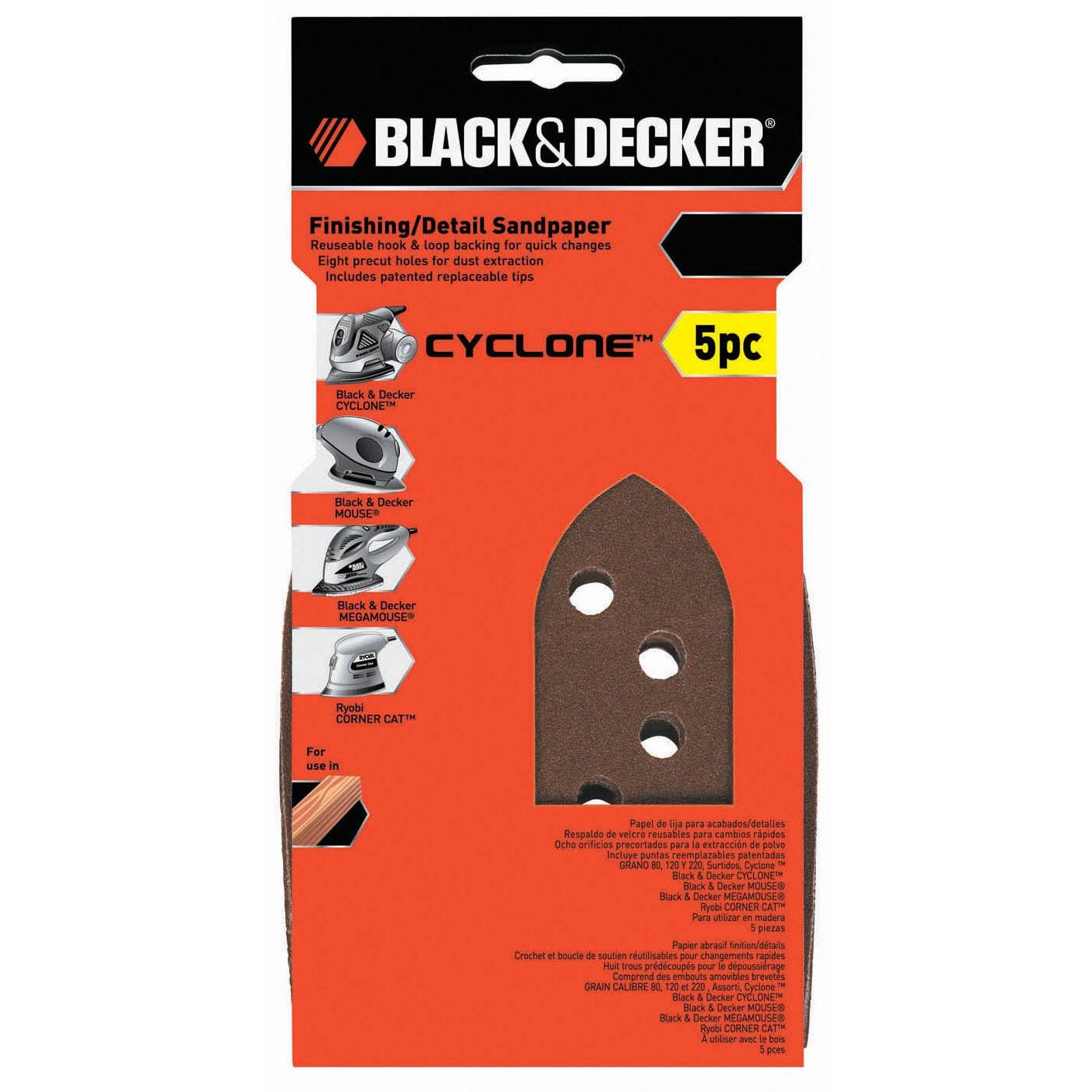 Black /& Decker BDAMMMX-5 Mega Mouse Assorted Sandpaper 5-Pack