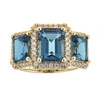 Anika and August 14k Yellow Gold London Blue Topaz and 1/3ct TDW Diamond Ring (G-H, I1-I2)