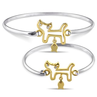Miadora 2-Tone White and Yellow Plated Sterling Silver White Topaz 'Mommy & Me' Cat and Fish Bangle Bracelet Set