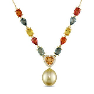 Miadora Signature 14k Yellow Gold Cultured Pearl Multicolor Sapphire & Diamond Necklace