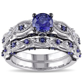 Miadora 10k White Gold Created Blue Sapphire 1/10ct TDW Diamond Vintage Bridal Set (More options available)