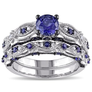 Miadora Signature Collection 10k White Gold Created Blue Sapphire 1/10ct TDW Diamond Vintage Bridal Ring Set (G-H, I2-I3)