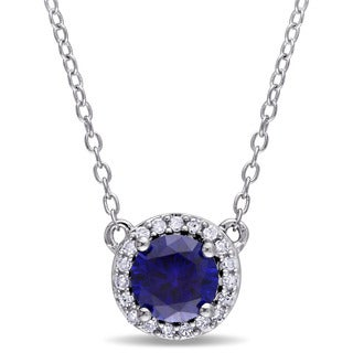 Miadora Sterling Silver Created Blue Sapphire and 1/10ct TDW Diamond Halo Necklace (G-H, I2-I3)
