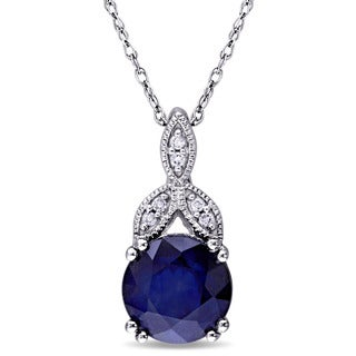 Miadora 10k White Gold Sapphire and Diamond Accent Vintage Necklace (G-H, I2-I3)